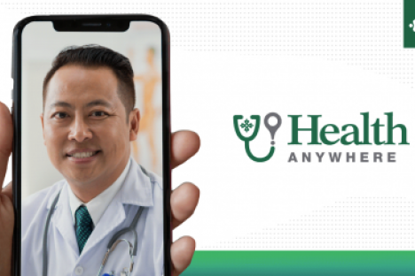 Physician visual on cellphone with Health Anywhere logo
