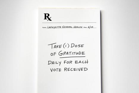 physician note pad that says THANK YOU as the prescription